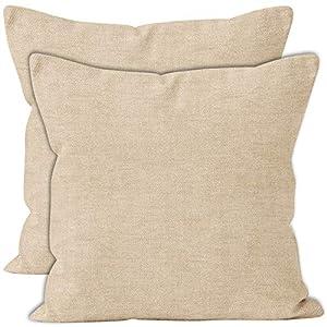 Encasa Homes – Housses d'oreiller en Chenille 2 pièces – Naturel – 40 x 40 cm Coussin décoratif texturé de Couleur Unie…