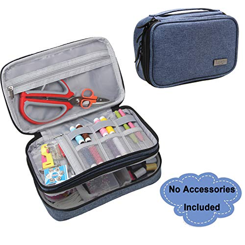 Luxja Sewing Accessories Organizer, Double-Layer Sewing Supplies Organizer for Needles, Scissors, Measuring Tape, Thread and Other Sewing Tools (NO Accessories Included), Large/Dark Blue from LUXJA