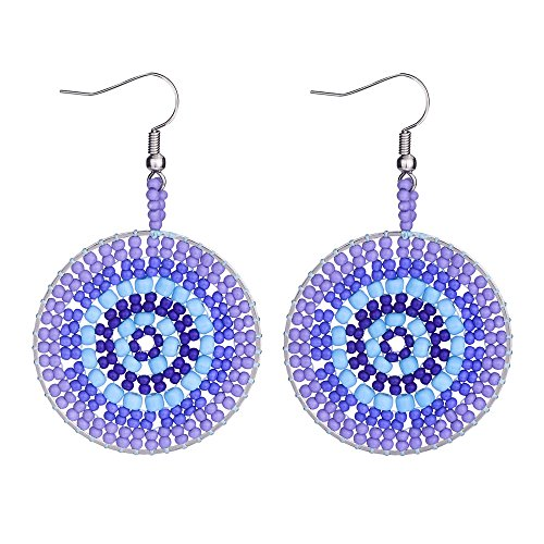 Handmade Boho Native American Earrings for Women Multicolor Beaded Drop Dangle Fringe Seed Disc Bead Ear Beadwork Jewelry-Jeka Purple