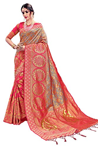 India Silk Sarees (Urban India Pink & Grey Banarasi Silk Saree)