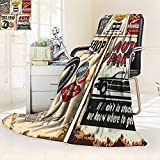 YOYI-HOME Digital Printing Duplex Printed Blanket Vintage car Service Metal Signs and Summer Quilt Comforter/69 W by 47'' H