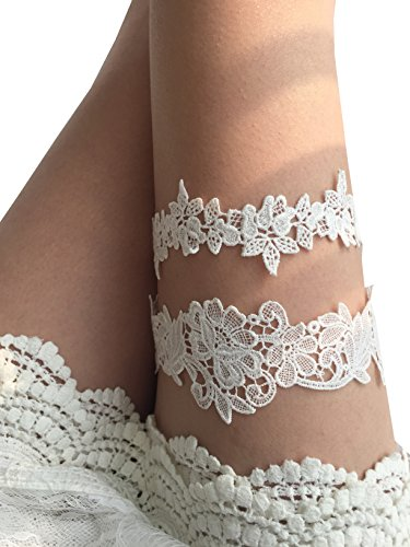 YuRong Flower Leaf Styel Garter Set Wedding Garter Set Bridal Garter G08 (Ivory)