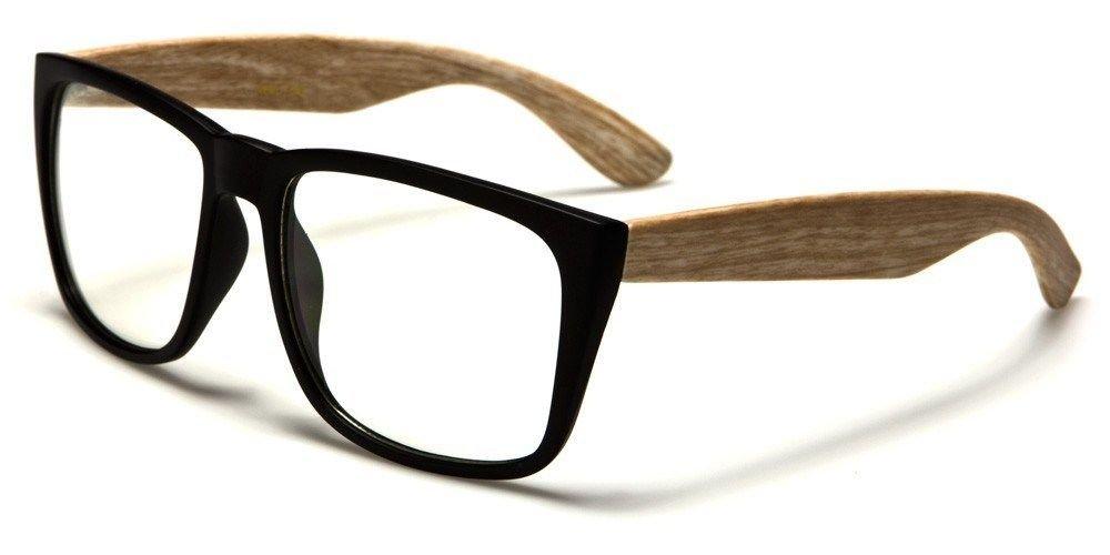 Maple Large Vintage Frame Faux Wood Arms Women Men Sweet Nerd Glasses