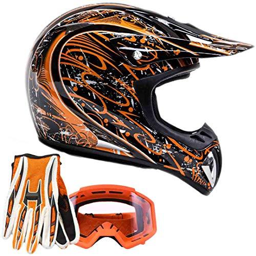 Orange Helmet Motocross (Adult Offroad Helmet Goggles Gloves Gear Combo Orange Splatter (Large))