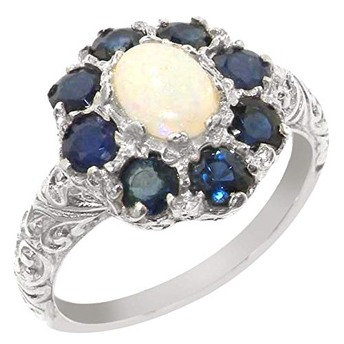 (925 Sterling Silver Natural Opal and Sapphire Womens Cluster Ring - Sizes 4 to 12 Available)