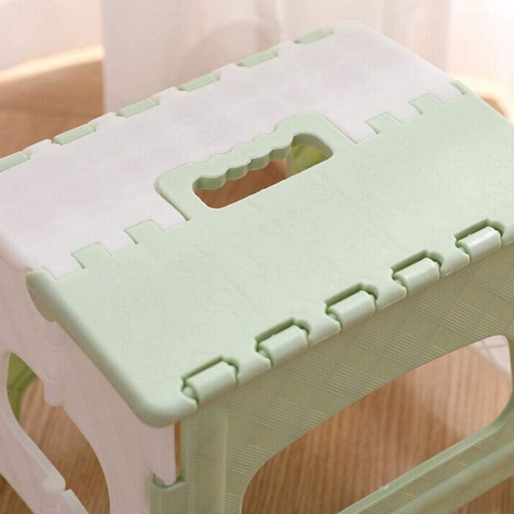 Yqs Folding Chairs Plastic Folding Step Stool Multi Purpose Portable stool Outdoor Storage Foldable stool Home small seat Travel Foldable stool (Color : Light Green) Pink