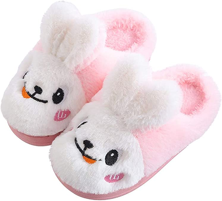 Kids Winter Rabbit Fur Slippers Cute Rex Girls Home Shoes Warm Cotton Slippers