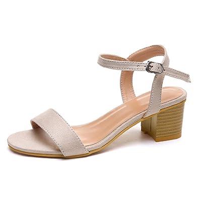 f63bed4db5886e BASACA Sandales Femme Fille Printemps Été Chaussures Boucle Talon Carré  Décontracté Chaussons Mode 2019 (Beige