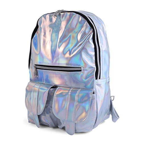 Casual Rucksack Jagenie Color Silver Laser Backpack Purple Bag Hologram Metallic School Fashion Travel Sxzq8SRr
