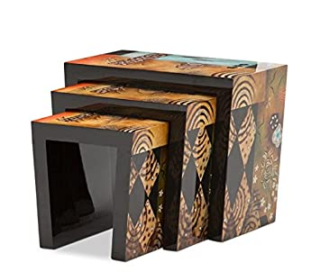 1PerfectChoice Set of 3 Lacquer Hand-Painted Illusion Accent Frame Nesting End Tables