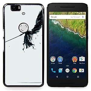 """Qstar Arte & diseño plástico duro Fundas Cover Cubre Hard Case Cover para Huawei Google Nexus 6P (Ángel oscuro"""")"""