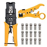 Proster Multifunctional Coax Compression Connector Adjustable Cable Stripper Wire Cutter Cable Crimper With 15 RG59 F Connectors for RG58 RG59 RG6 F BNC RCA