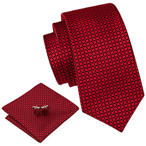 Barry.Wang Plaid Ties for Men Silk Necktie Set Pocket Square Cufflink Wedding ()