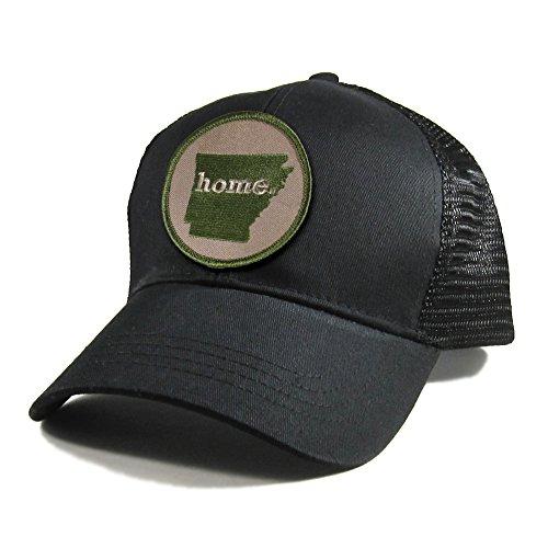 Homeland Tees Men's Arkansas Home Patch All Black Trucker Hat - Army Green (Christmas Day Eureka Springs)