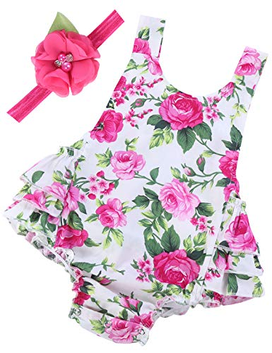 Baby Girl's Floral Ruffles Romper Summer Clothes,A3,13-24 Months(Size L)]()