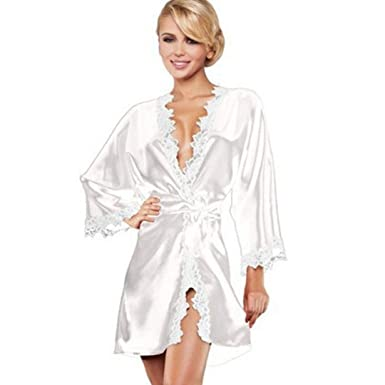 Vestido De Mujer Kimono Bata Albornoz Pijamas De Encaje Cortos Noche Cálida Basic Gafa Gasa Cuello