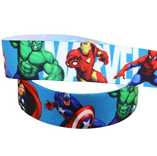 2m x 22mm MARVEL AVENGERS SUPER HERO GROSGRAIN RIBBON FOR CAKE'S BIRTHDAY CAKES GIFT WRAP WRAPPING RIBBON CRAFT ADDED SPARKLE