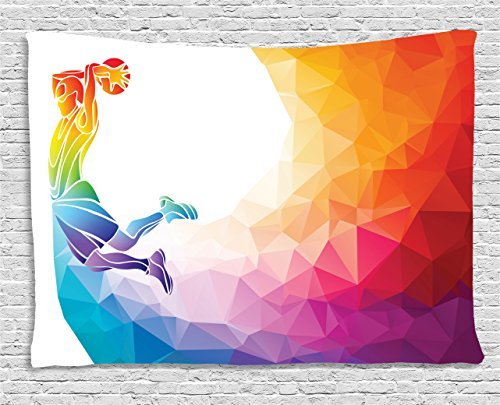 Ambesonne Basketball Tapestry, Rainbow Colored Theme with a Basketball Player Sports Man Jumps Scoring Print, Wall Hanging for Bedroom Living Room Dorm, 60 W X 40 L Inches, White Orange ()