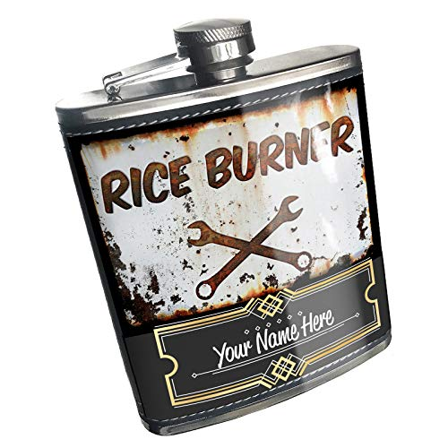 Neonblond Flask Rusty old look car Rice burner Custom Name Stainless Steel