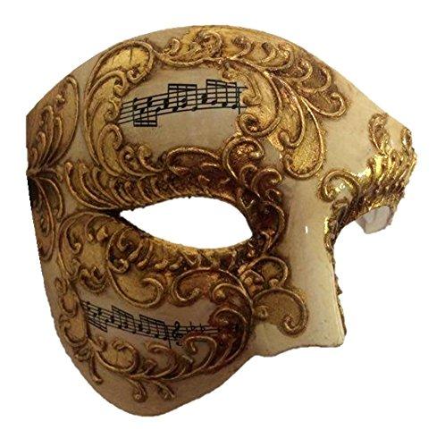 Venetian Phantom Half Costume Mask Adult Men Women Musical Notes Opera Gold