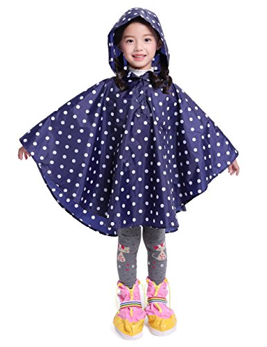 LOHASCASA Girl's Rain Poncho Jacket Coat Overall Reusable Du