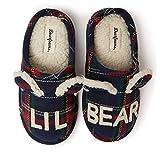Dearfoams Unisex Slipper, Lil Bear Blue Tartan