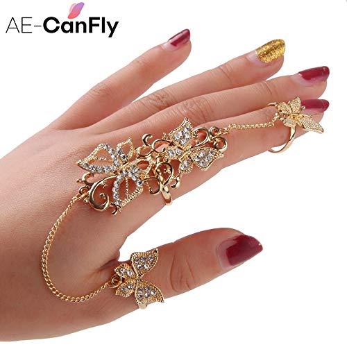 Rhinestone Flower Butterfly Full Finger Rings for Women | Gold Chain Link Double Armor Ring