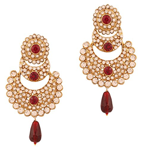 Touchstone Indian bollywood crystals and red chandbali designer jewelry earrings in gold tone for