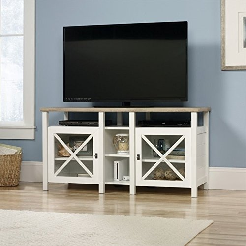 Sauder Cottage Road Entertainment Credenza, Soft White Finish - Contemporary Oak Tv Cabinet