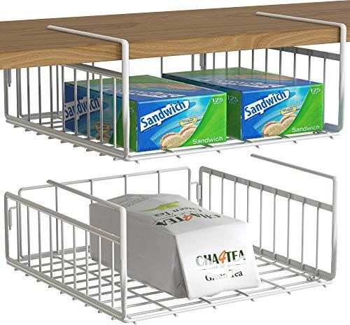 2 Pack – Simple Houseware Under Shelf Basket, White