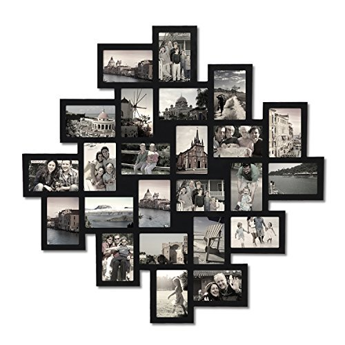 Adeco 24-Opening Black Wood Wall Hanging Collage Clustered P