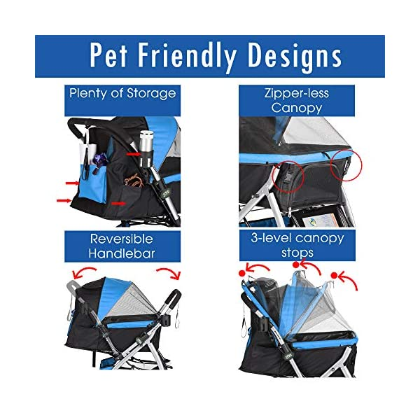 HPZ Pet Rover Premium Heavy Duty Dog/Cat/Pet Stroller Travel Carriage with Convertible Compartment/Zipperless Entry/Reversible Handlebar/Pump-Free Rubber Tires for Small, Medium, Large Pets 5