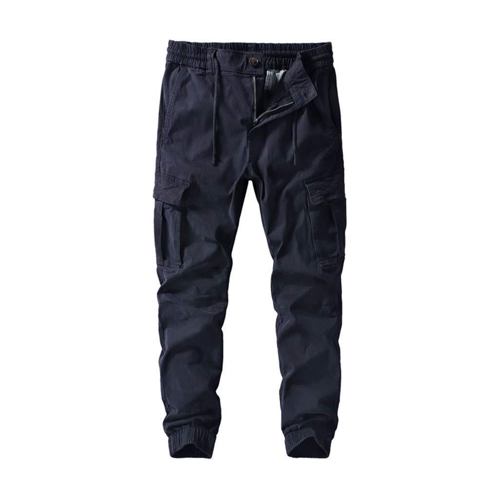FKSESG Men's Pants Men Pleated Multi Pockets Mid Waist Solid Loose Long Pants Dark Blue