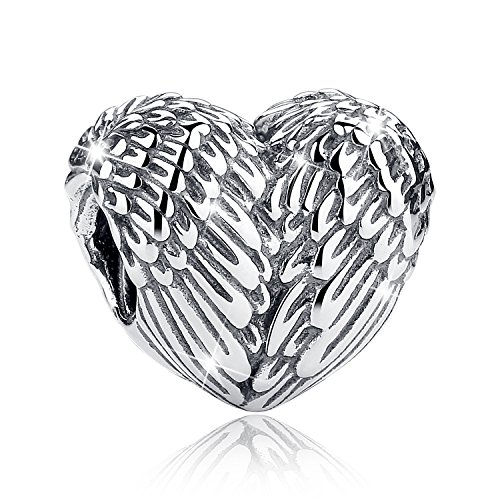 BAMOER 925 Sterling Silver Feathers Angel Wing Heart Shape Charm Bead Fit Bracelet Necklace