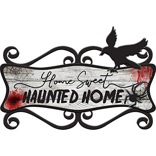 Amscan Dark Manor Home Sweet Haunted Home Sign, Features Blood Spatter and a Raven, Measures 23 Inches by 14 Inches ()