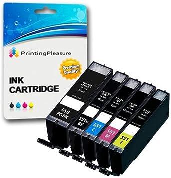 5 XL Compatibles PGI-550XL CLI-551XL Cartuchos de Tinta para Canon ...
