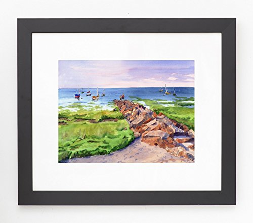 framed-and-matted-paines-creek-brewster-cape-cod-watercolor-giclee-print