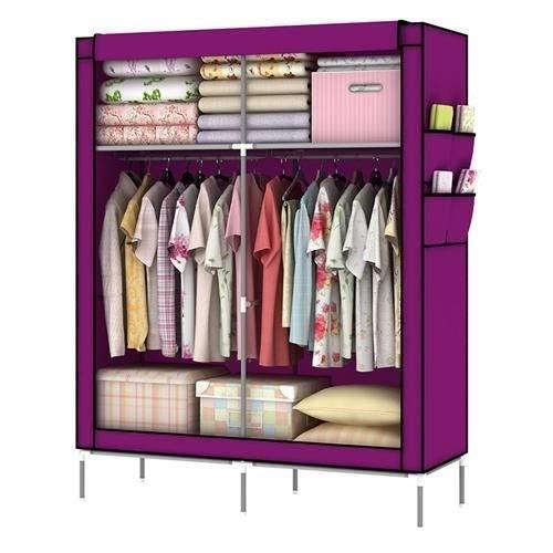 Amanda Home 10140H Portable Clothes Closet Wardrobe Fabric Clothes Storage Organizer (Purple - 69 x 43 x 18in)