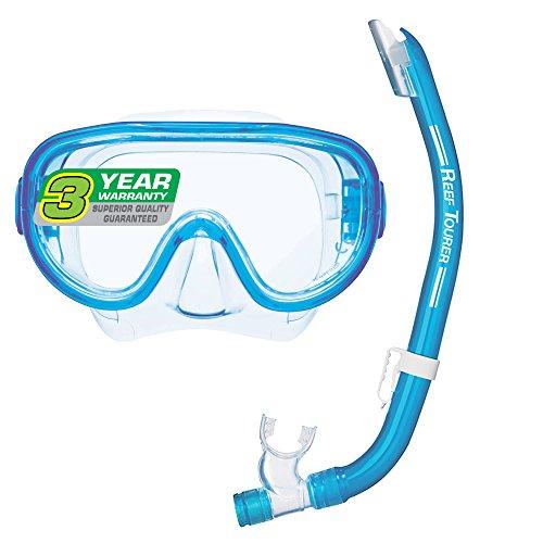 Reef Tourer Adult Single-Window Mask & Snorkel Combo Set, Clear Blue (Best Affordable Snorkel Set)
