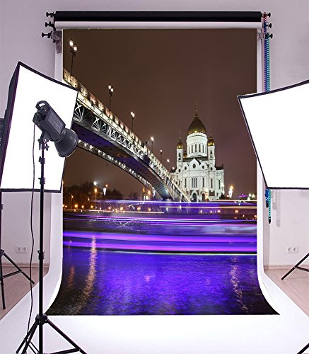 Laeacco 5x7FT Backdrop Vinyl Photography Background London City Night View European Building Bridge River Lighting Church Scenery Travel theme Personal Portraits Backdrop Photo Studio (London Halloween Concert)