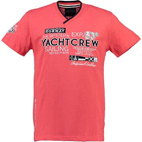 Geographical Norway Herren V-T-Shirt JIMONO Herrenshirt kurzarm Shirt Coralle S