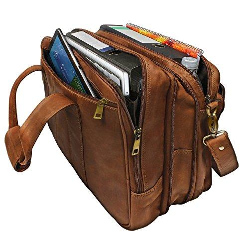 STILORD Umhängetasche Herren Ledertasche Aktentasche Schultertasche Lehrertasche Notebooktasche Laptoptasche Unitasche Collegetasche echtes Büffel-Leder braun Braun