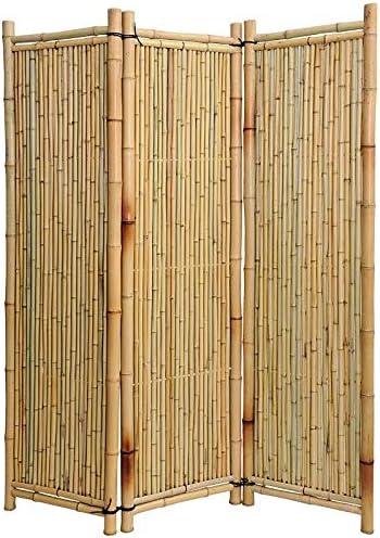 Noor de bambú Biombo 180 x 180 cm, 3 partes: Amazon.es: Jardín