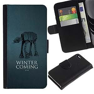 All Phone Most Case / Oferta Especial Cáscara Funda de cuero Monedero Cubierta de proteccion Caso / Wallet Case for Apple Iphone 4 / 4S // Winter Is Coming At At