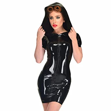 Fashion Queen Womens Sexy Leather Bodycon Hooded Dress Zipper Pvc Dress Black Pu Clubwear Black