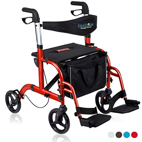 Health Line 2 in 1 Rollator-Transport Chair w/Paded Seatrest, Reversible Backrest and Detachable Footrests, Cherry Red ()