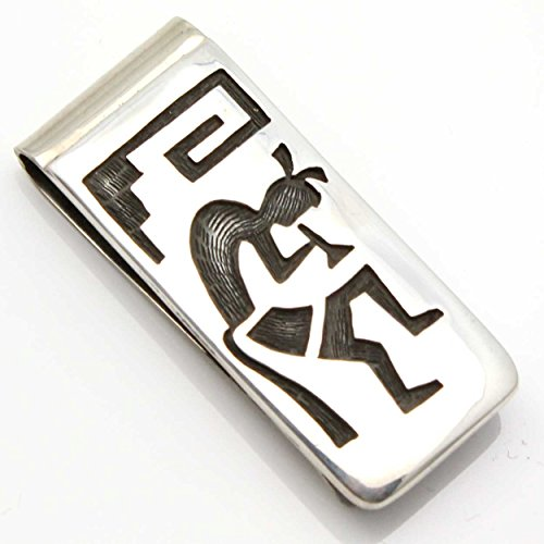 Hopi Sterling Silver Money Clip Featuring Kokopelli & Clouds Rain Symbols… (Medallion Money Silver Clip)
