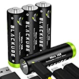 BLACKUBE AA Batteries Lithium Update to 1500mAh Rechargeable AA Battery with Micro-USB - 1.5Hours Charging -1.5V/2250mWh - 4Pack