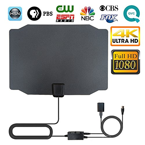 TV Antenna, 2018 Newest Indoor Digital HDTV Antenna 4K 1080P 60-80 Miles Range with Adjustable Signal Amplifier (Short Or Long Range), USB Power Supply and 16.4 Ft Coax Cable, Black Appearance