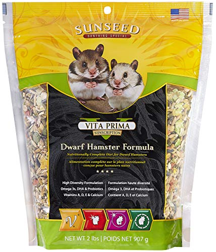 (Sunseed 36070 Vita Prima Sunscription Dwarf Hamster Food - High-Variety Formula - 2 LBS)